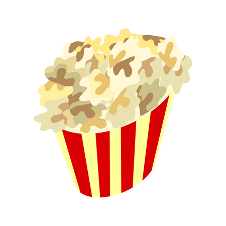 salty: Popcorn Box Icon. Traditional Salty, Sweet Snack Illustration