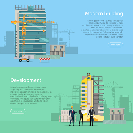 construction project: Modern Building. Development. Collection of Icons