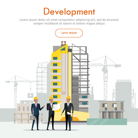 Development. Building Process. Three Businessmen Ilustrace