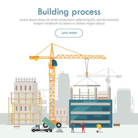 Building Process. Unfinished Building. Crane. Illustration