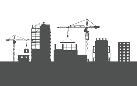 Four Unfinished Buildings. Two Cranes. Colourless Illustration