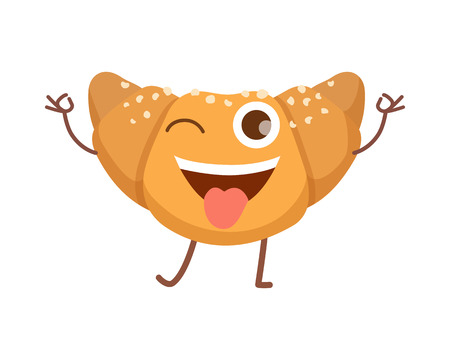 Sweets. Icon of Isolated Happy Smiling Croissant Illustration