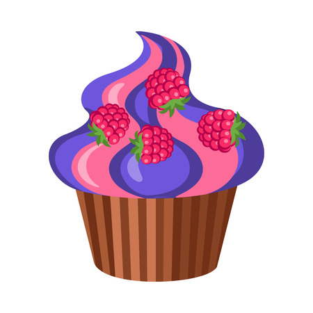 glace: Sweets. Round Fruit Cupcake with Four Raspberries