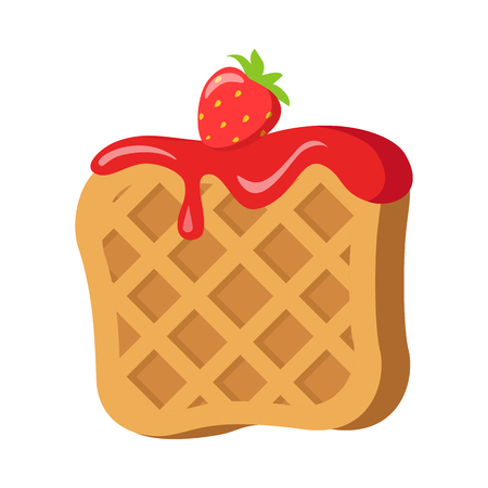 Sweets. Belgian Waffle with Red Strawberry Cream Illustration