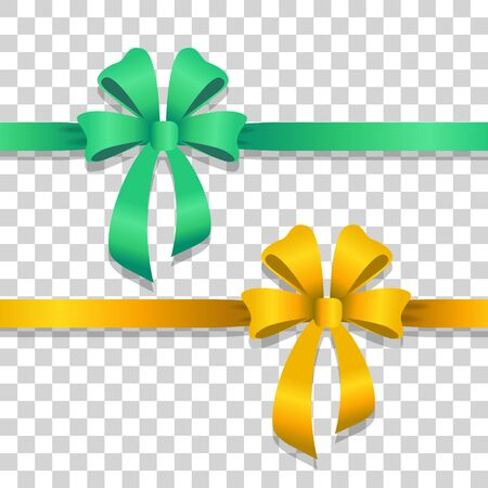 Green and Yellow Wide Ribbons with Bright Bows Illustration