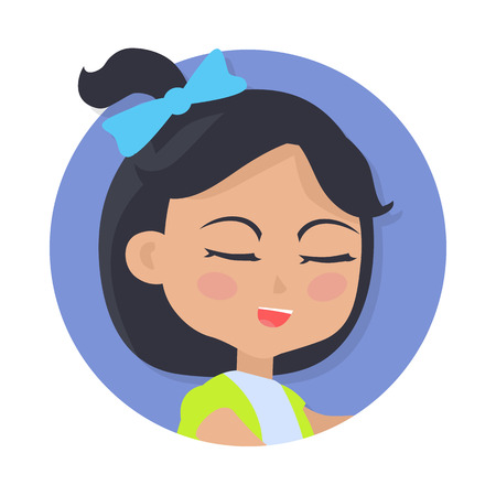 Speaking Girl with Black Hair and Blue Bow on Head Illustration