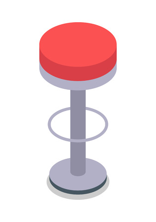 Bar Stool in Red Color Isolated. Flat Design. Ilustrace
