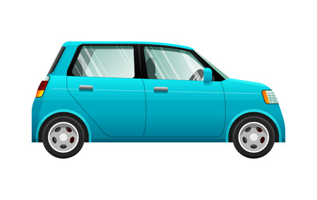 nonpolluting: Transport. Illustration of Small Blue Automobile