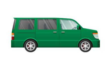 Isolated Green Minivan in Simple cartoon style Illustration