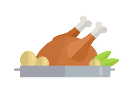 Fried Poultry Illustration in Flat Design
