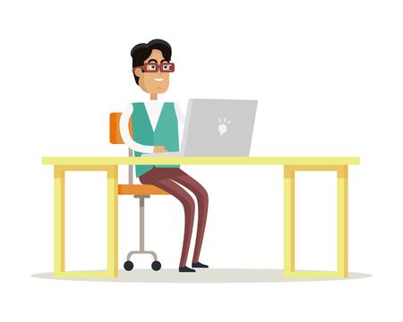 L'homme d'affaires travaille sur son ordinateur portable