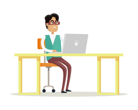 Zakenman werkt op zijn laptop Vector Illustratie