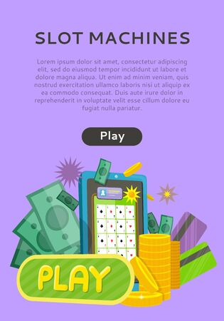 Slot Machine Web Isolated with Play Button