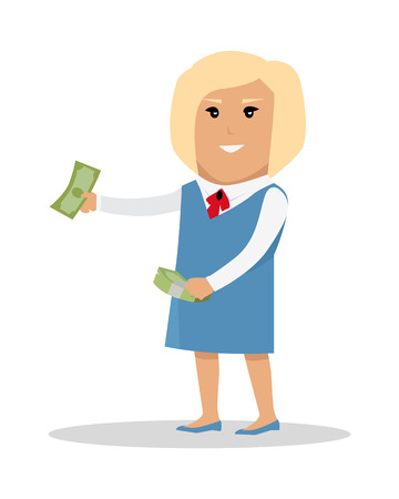 Woman Character With Money Illustration