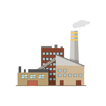 power industry: Industry manufactory building icon. Factory producing oil and gas, metals and rubber, energy and power. Illustration