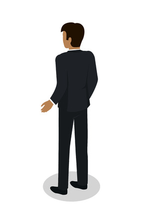 plankton: Businessman icon. Man character in business suit standing turned back isometric projection illustration isolated on white background. For apps, infographics, game environment, web design