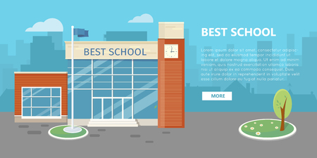 school: High School Building in Flat Style Design
