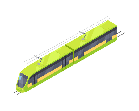 passenger transportation: Tramway Icon in Isometric Projection Illustration