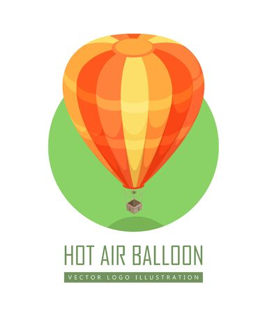 airship: Balloon isometric projection icon. Orange striped hot air balloon with basket vector illustration isolated on white background. For game environment, transport infographics, logo, web design