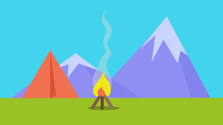 scenary: Camping Tent Near Fire and Mountains