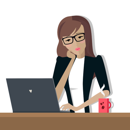 woman laptop: Business Woman Works on His Laptop