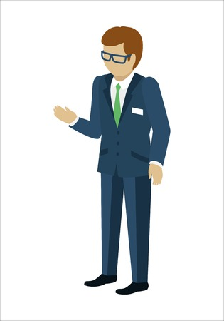 Man character in isometric projection. Male in business suite reaches out hand. Seller, assistant, manager, clerk, merchandiser, vendor, salesperson, consultant illustration. Isolated on white