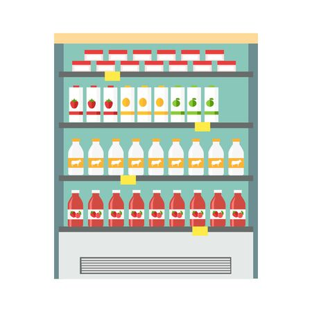 icebox: Showcase refrigerator for cooling dairy products. Different colored bottles in blue drinks fridge. Fridge dispenser cooling machine. Isolated object in flat design on white background.