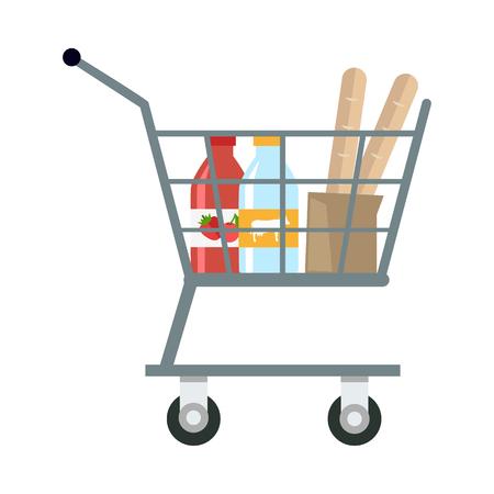 Panier d'achat avec différents produits en appartement. Panier d'achat avec diverses épiceries. Chariot de supermarché avec du lait, du yaourt et du pain. Vue de côté. Illustration isolée sur fond blanc.