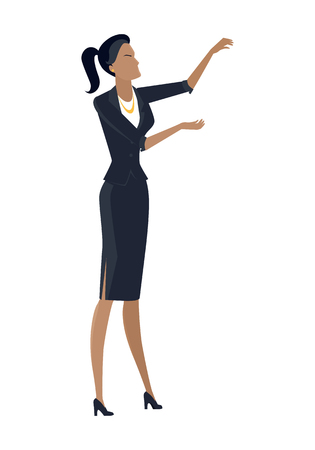 Businesswoman in flat design. Female character in business clothing with hands raised spends visual presentation. Human pose template for companies ad concepts, infographics. Isolated on white. Illustration