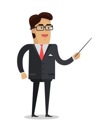 Man with Pointer Flat Design Illustration Illustration