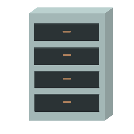drawers: Chest of Drawers Isolated on White Background. Illustration