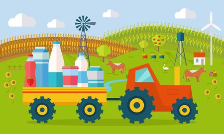 Milk Eco Farm Concept in Flat Style Design