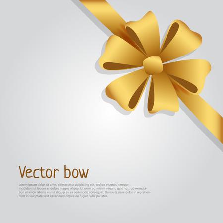 Bow. Golden Wide Ribbon. Bright Six Petals Illustration