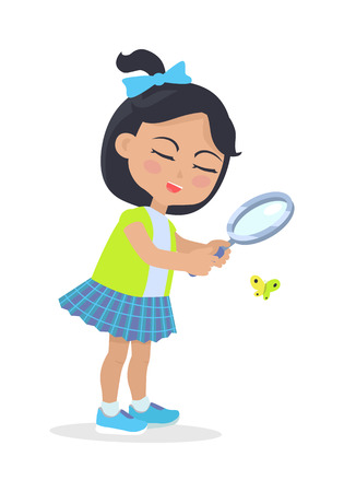 eye glasses: Girl Looking at Butterfly through Magnifying Glass