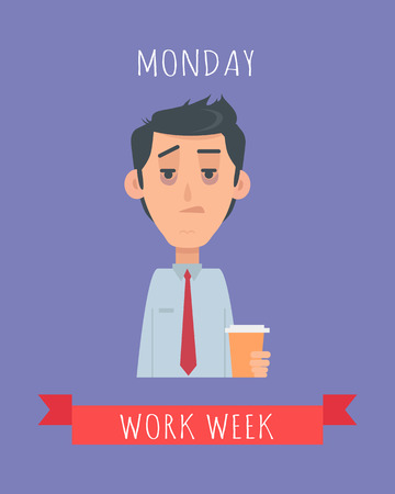 Work Week Emotive Concept In Flat Design Stock Photo