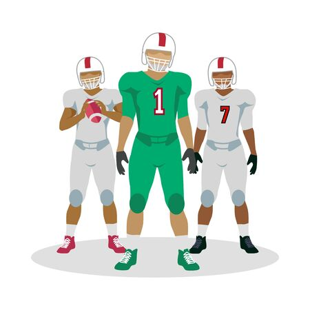 cleats: American Football Players in Equipment with Ball Stock Photo