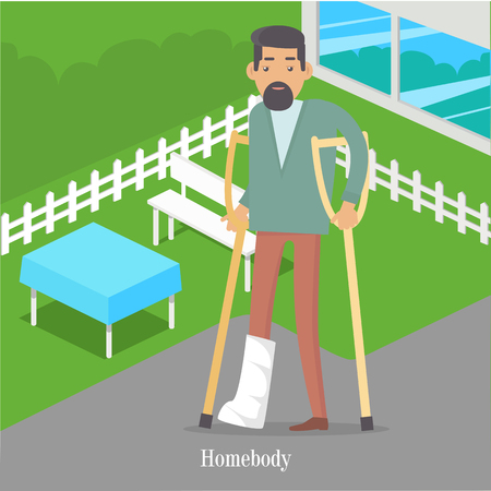 Homebody on crutches with broken leg walking in park. Male handicapped person. Man on vacation with medical sick-leave certificate. Disable man walks near table and bench. illustration in flat
