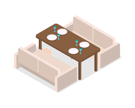 laid: Restaurant. Inteior. Laid Table and Two Sofas Illustration
