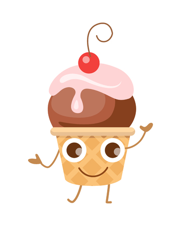 Ball of Ice Cream in Cone. Funny Cartoon Character