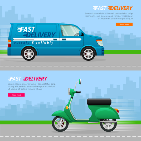 Transport. Collection of two automobile icons. Blue delivery minivan with a white line. Fast four-wheeled mean of transportation. Illustration of isolated green scooter. Flat cartoon design. Illustration