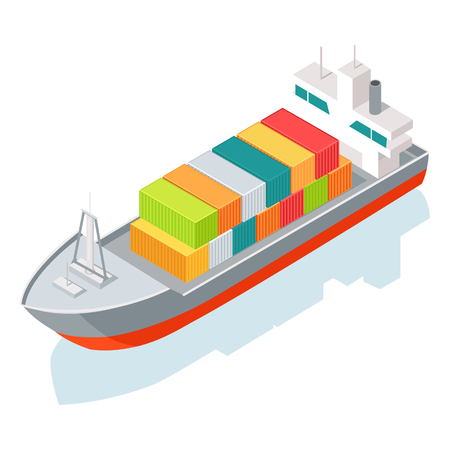 Cargo ship or container isolated on white. Multi-purpose vessel. Chemical or product tanker. Custom high speed picker boat. Carries cargo, goods, and materials from one port to another. Illustration