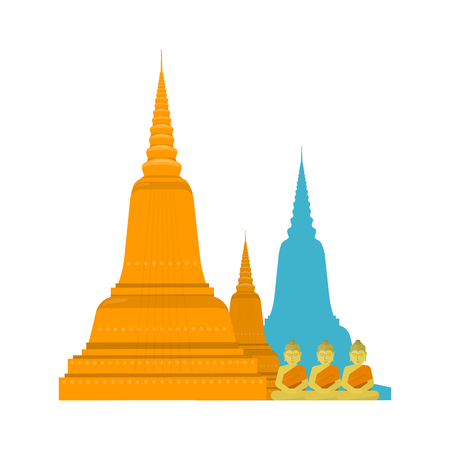 Thailand templ with Buddha. Thai famous attractions in flat. Thailand travel poster element. Element for creating infographics. Travel composition. illustration on white background. Illustration