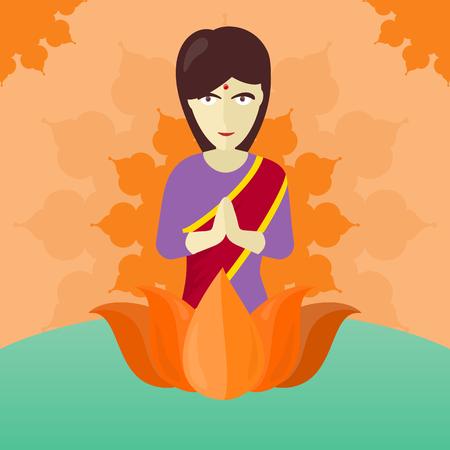 Indian Woman Isolated on Round ornate Mandala Illustration