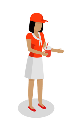marketeer: Woman in Red and White Uniform Sales Cola. Vector
