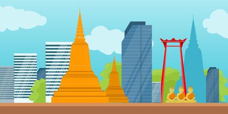 バンコク詳細バナー。タイのシンボル。  イラスト・ベクター素材
