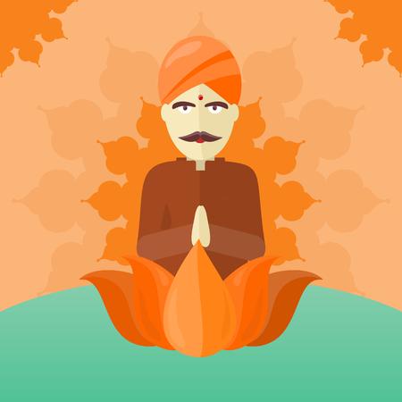 sadhu: Indian Man Isolated on Round Ornate Mandala.