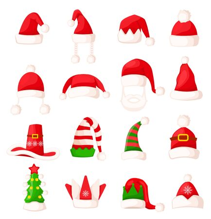 Santa Claus Hat Set Isolated. Big Vector Collection