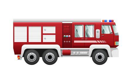 Transporte. Aislado, rojo, fuego, camión, seis, ruedas