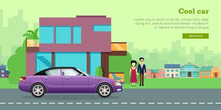 Family Transport Flat Vector Web Banner