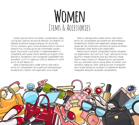 女性アイテムやアクセサリー。カラフルなオブジェクト